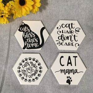 Hand Crafted | Humorous Cat Coasters [4 pack]